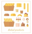 Set of icons in a flat style on the baking theme vector image