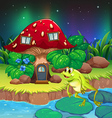 A frog jumping near the red mushroom house vector image vector image