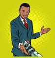 african businessman handshake to robot vector image vector image