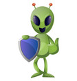 alien with badge on white background vector image