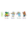 animals with professions funny alphabet or abc vector image vector image