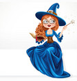 beautiful witch wearing in blue dress holding vector image vector image