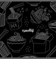 black and white square banner wok noodles in a vector image