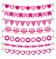 bunting and garland pink set vector image vector image