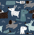 childish seamless pattern with hand drawn dogs vector image vector image