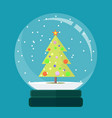 christmas card snow globe with a christmas tree vector image