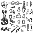 climbingcamping and exploration vintage icons set vector image vector image