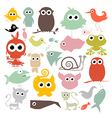 Colorful Simple Animals Silhouette Set vector image