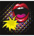 comic lips shout speech bubble pop art on dot vector image vector image