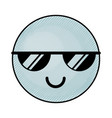 cute blue kawaii emoticon face vector image vector image