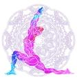 decorative colorful yoga pose over ornate round vector image