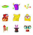 entertaining show icons set cartoon style vector image vector image