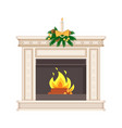 fireplace in classic style decorated for holiday vector image