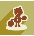 flat icon with long shadow child playing in snow vector image vector image