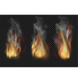 forks flame realistic set vector image vector image