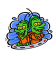 funny aliens in a spaceship in a flat style image vector image