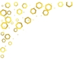 Gold glittering foil hexagons on white background vector image vector image