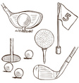 Golf collection - doodle style vector image vector image