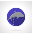 Gray dolphin balloon flat round icon vector image vector image