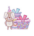 happy birthday cute animal vector image