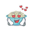 in love rice bowl mascot cartoon vector image