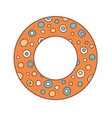 inflatable orange ring with cartoon circles vector image