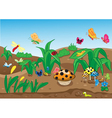 Insects family on the ground vector image vector image