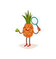 laughing pineapple standing with ball and tennis vector image