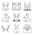 line art black and white easter bunny set vector image vector image