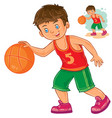 little boy playing basketball vector image vector image