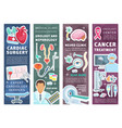 medical clinic banners with doctors and instrument vector image