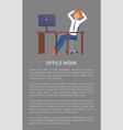 office work banner man resting at workplace vector image vector image