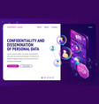 personal data protection isometric landing page vector image