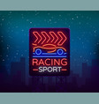 racing sports billboard neon logo emblem pattern vector image vector image