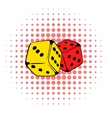Red and yellow dice icon comics style vector image