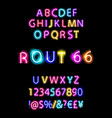 rout 66 neon font vector image vector image