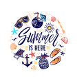 summer is here hand drawn banner with sun vector image vector image