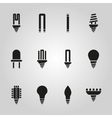 The light bulb icon set of 12 icons Lamp and vector image vector image