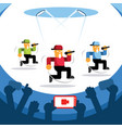 video streaming concert with three singers dancing vector image vector image