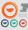 watermelon icon on the red blue green orange vector image