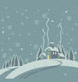 winter night with snow-covered village in wood vector image vector image