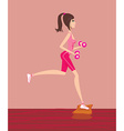 woman exercising with two dumbbell weights on her vector image vector image
