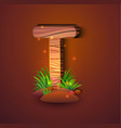 wooden letter t decorated with grass vector image vector image