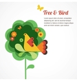 whimsy flower tree and bird vector image