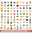 100 sweepstakes company icons set flat style vector image