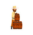 beekeeper man with wooden barrels honey vector image vector image