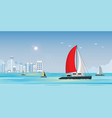 blue sea view with luxury sailing ship yacht in vector image vector image