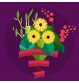 bouquet flowers birthday bouquet flowers vector image vector image