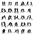Boxing silhouette set vector image