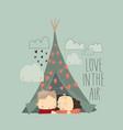 cartoon couple in love hugging in tent vector image vector image